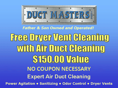 free dryer vent cleaning with air duct cleaning from Duct Masters